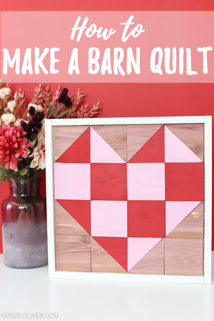 Text overlay: How to make a barn quilt - pink and red DIY barn quilt  with a red background