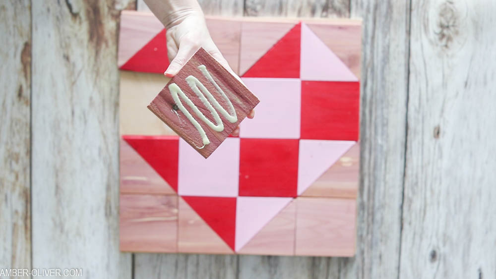 How To Make A Barn Quilt: gluing the cedar pieces