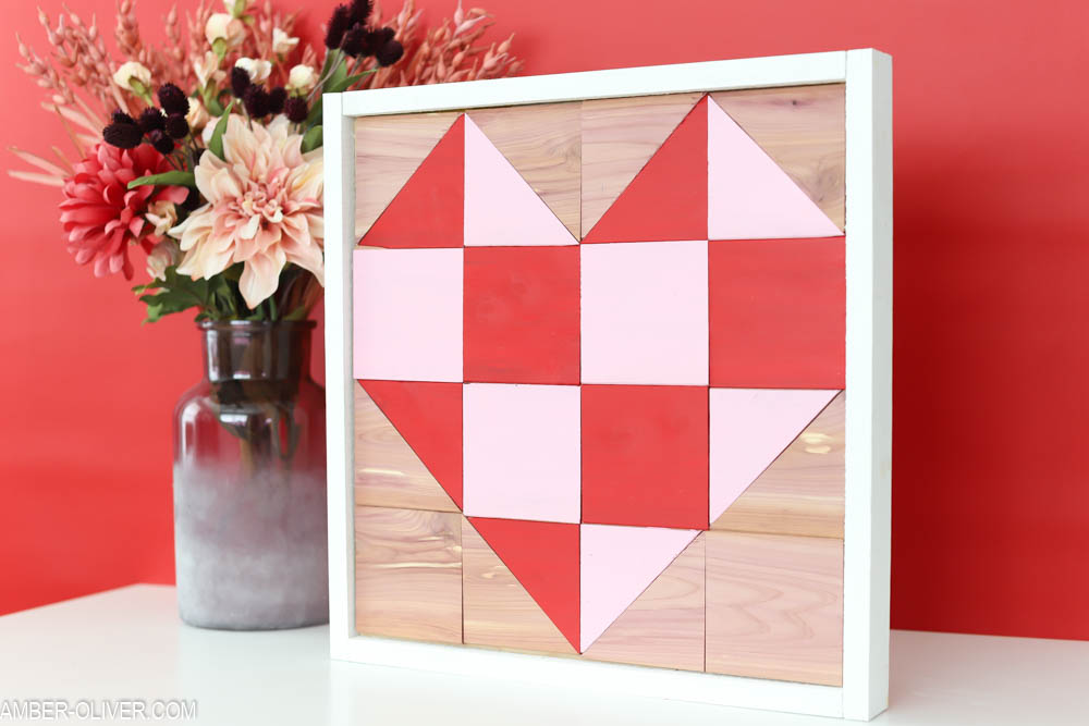 How To Make A Barn Quilt with cedar planks - barn quilts with red and pink heart