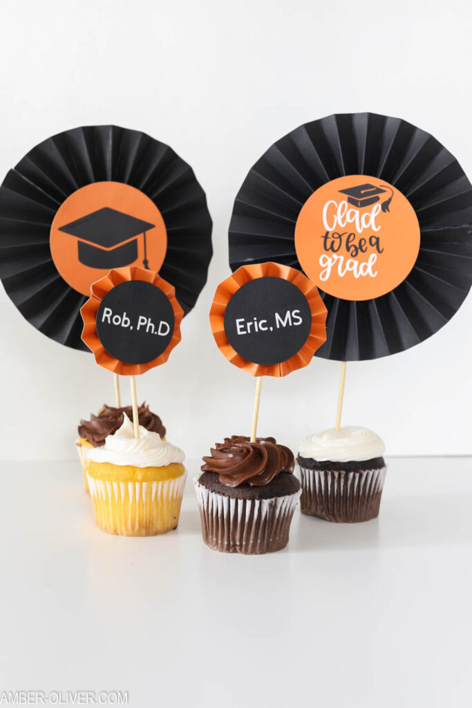graduation DIY cupcake toppers made with paper rosettes from the Cricut Maker