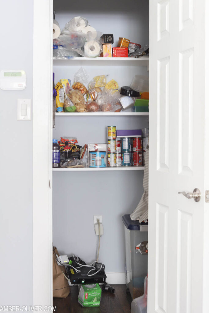 messy pantry - how to organize a pantry in 4 steps