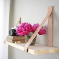 Transformed :: Wood & Leather Suspended Shelf