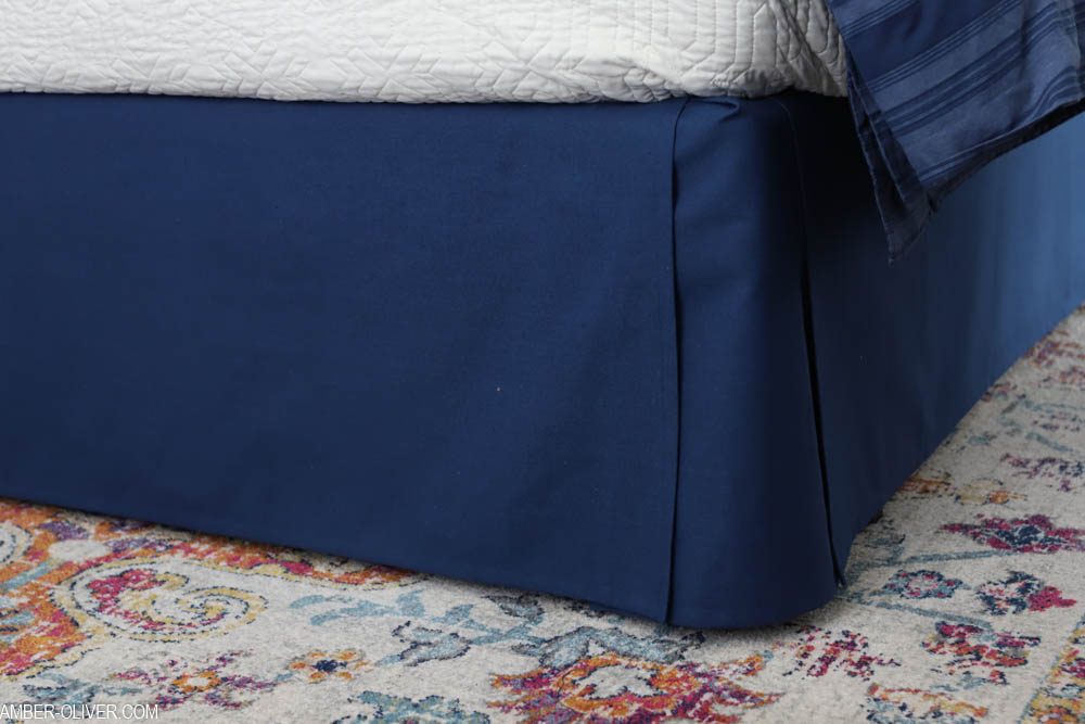 close up shot of navy DIY bed skirt