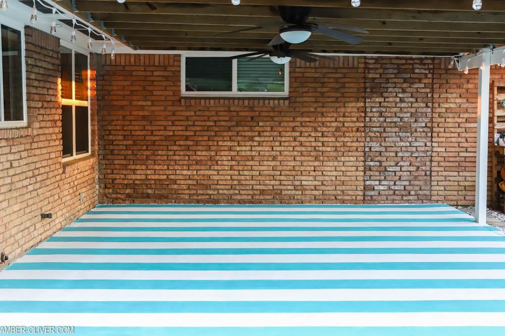 painted stripes on concrete floor