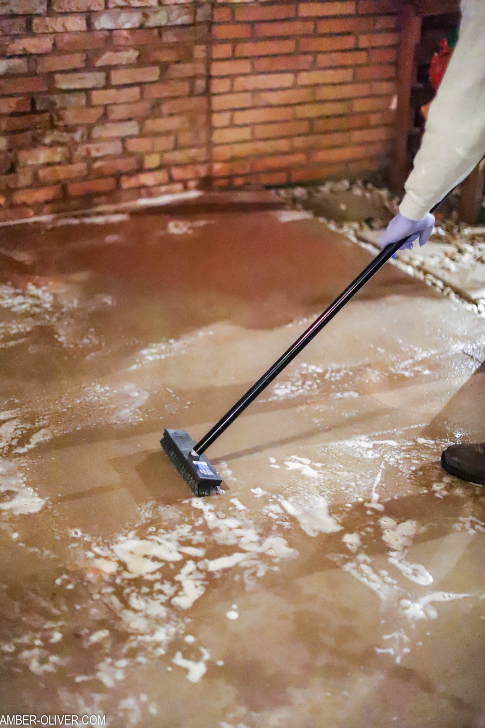 cleaning patio for painting concrete