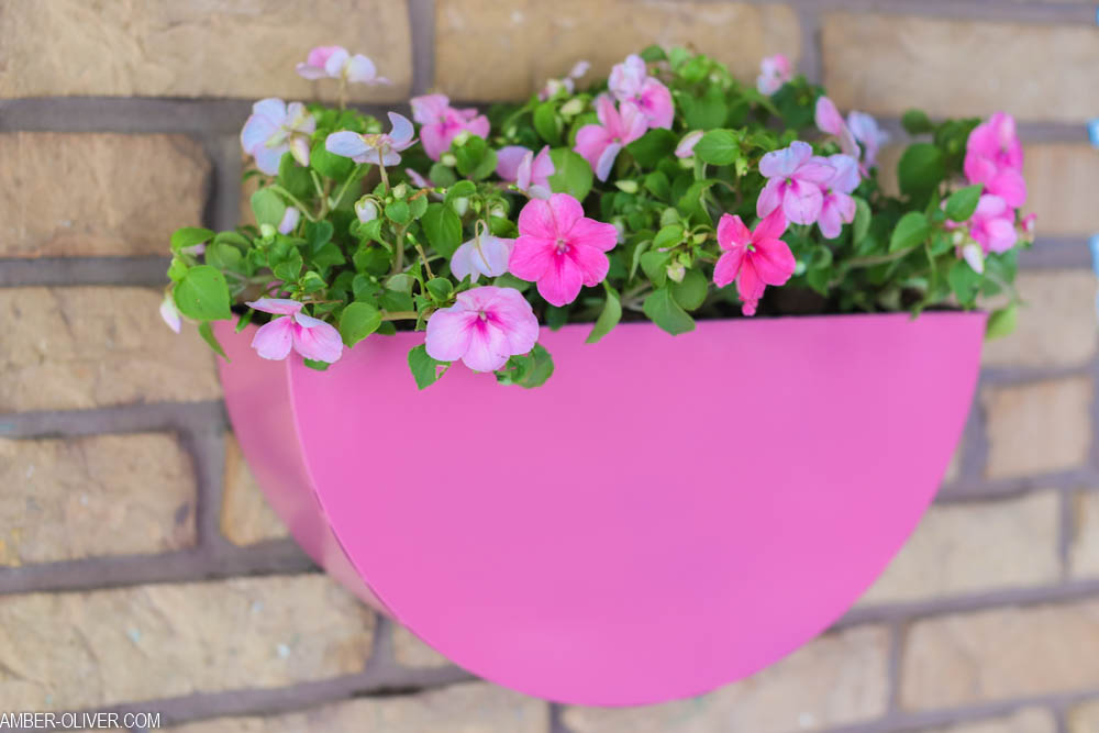 metal planter painted pink filled with pink flowers