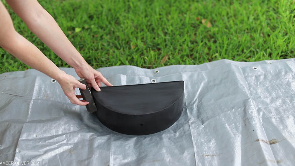 how to paint a metal planter - sanding first!