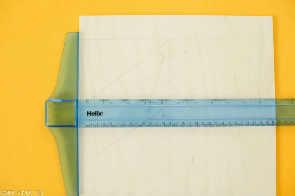 measure and mark your design for the DIY bulletin board