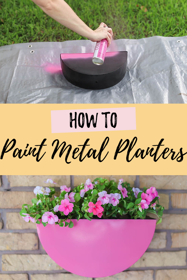 How to paint metal planters photos with text overlay