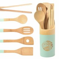 Organic 6 Piece Bamboo Cooking & Serving Utensils Set