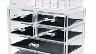 ISWEES Large Capacity Makeup Clear Acrylic Cosmetic and Jewelry Box