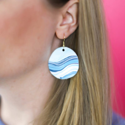 DIY Earrings From Acrylic Pour Painting