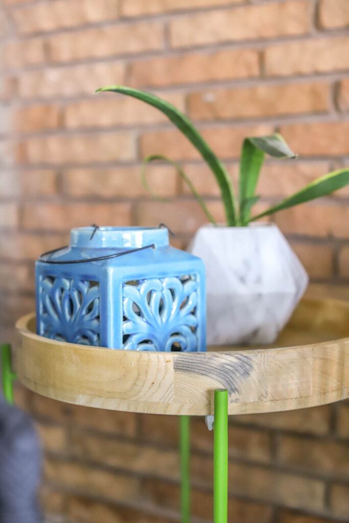 lantern and planter from At Home on a colorful patio