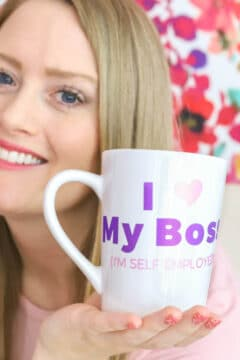 "DIY coffee mug ""I love my boss!"""