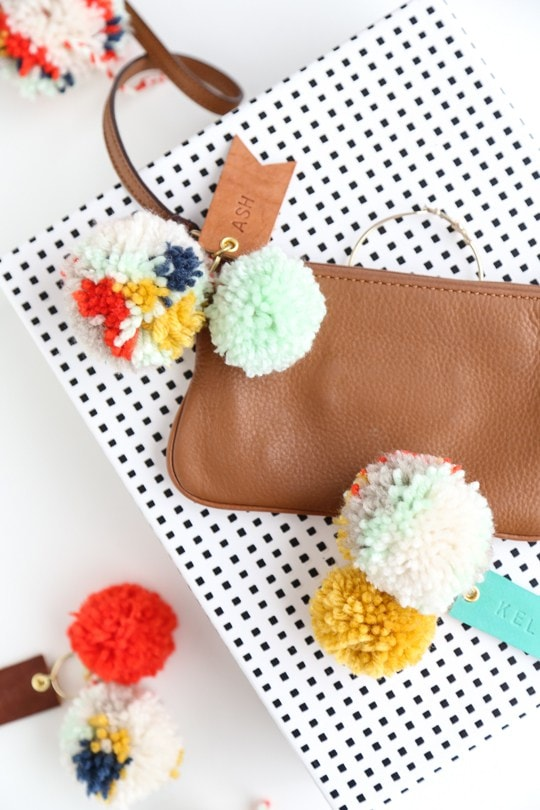 DIY Pom Pom Leather Luggage Tags