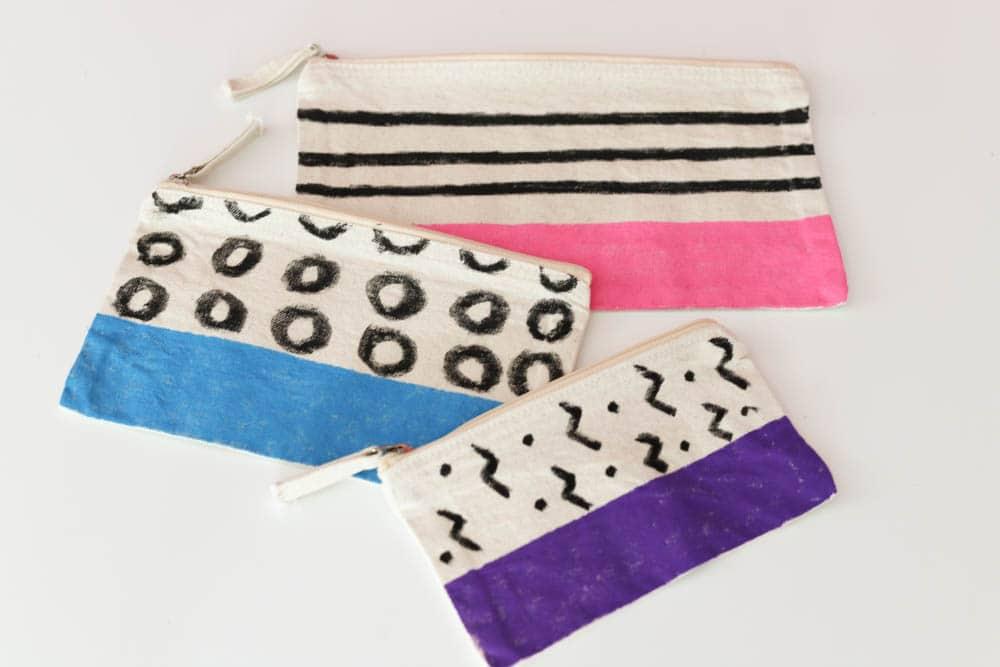 Modern Color Block Zip Pouches