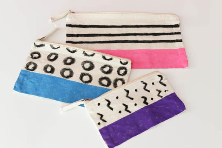 Modern Color Block Zip Pouches