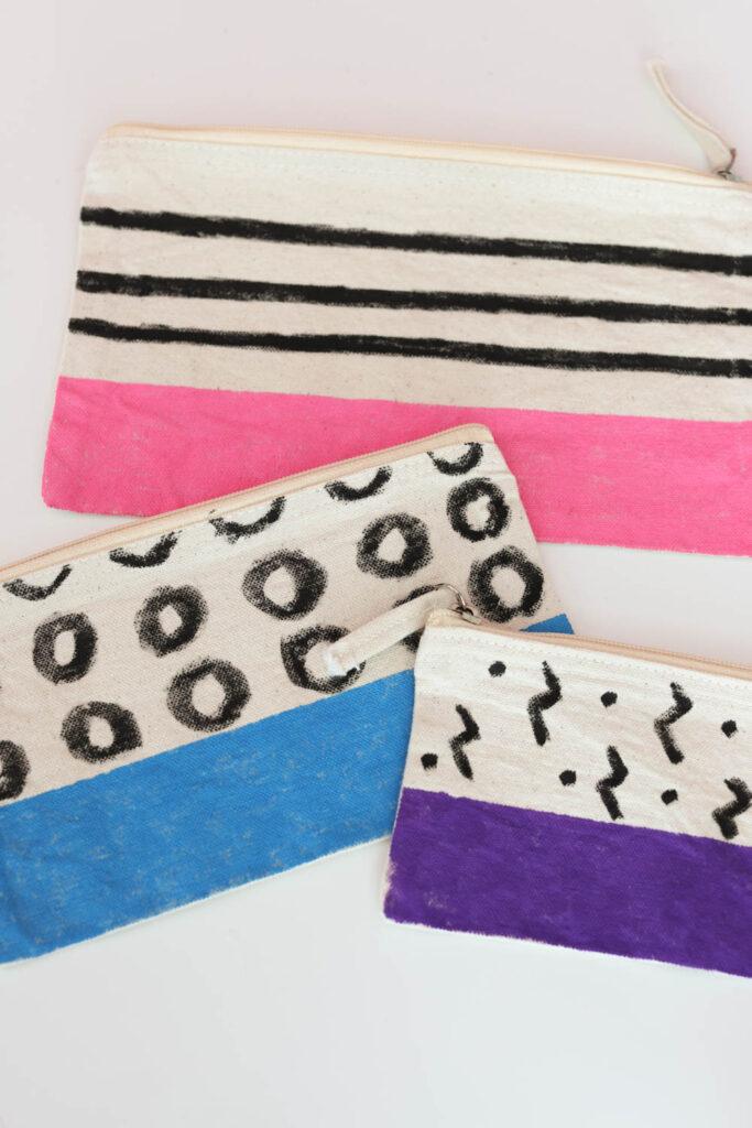 adorable, modern color block pouches