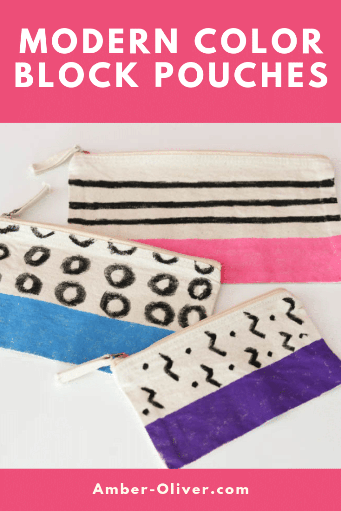 modern color block pouches with text overlay