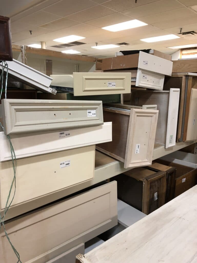 old drawers piled up at Habitat for humanity restore