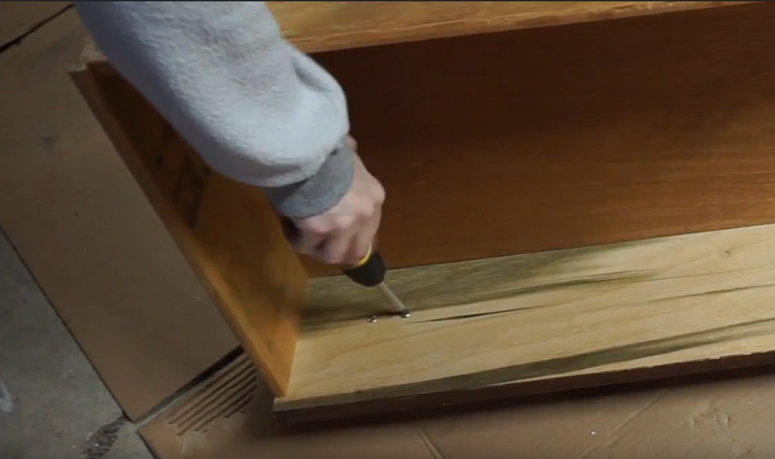 How To Turn Dresser Drawers Into Shelves: removing the hardware