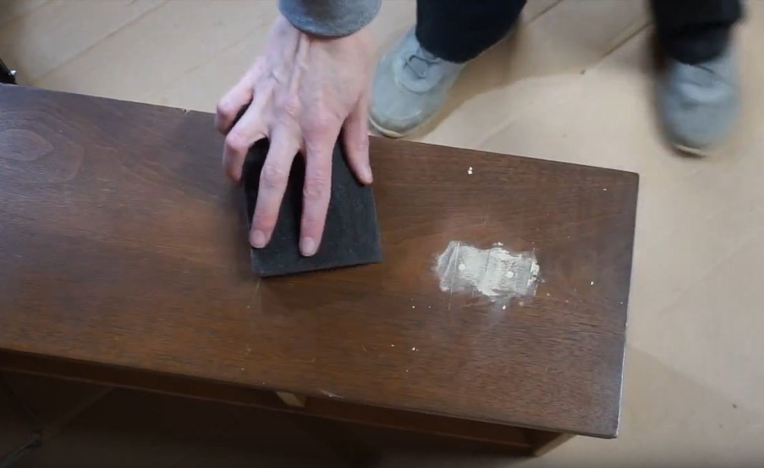 How To Turn Dresser Drawers Into Shelves: sanding the drawer