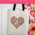 cricut infusible ink tote bag with text overlay