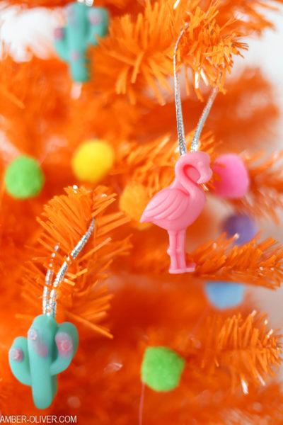 Resin Flamingo Ornament on an orange christmas tree
