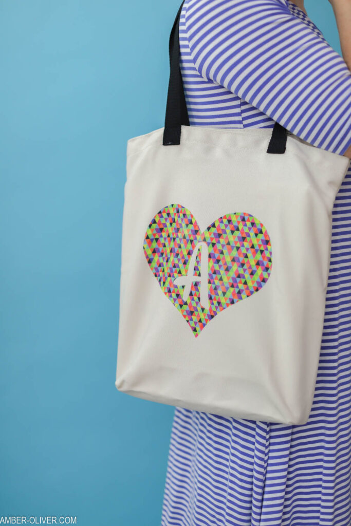 diy tote on the shoulder made with cricut infusible ink