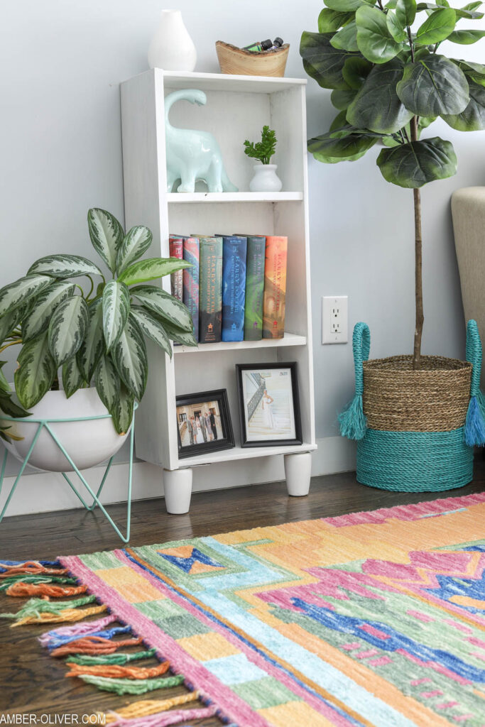 colorful rug with DIY shelves in colorful living room