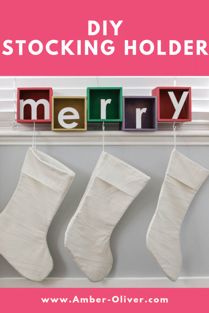 diy stocking holder with text overlay