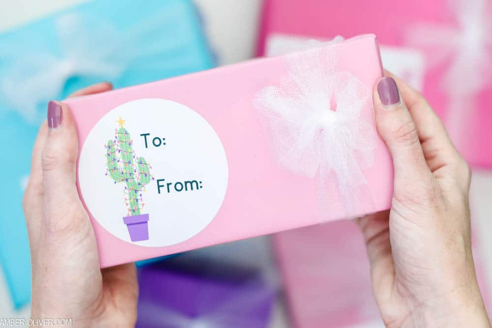 cute DIY gift tag with cactus Christmas tree made with Cricut print then cut