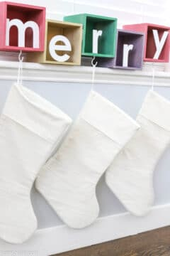 "colorful ""merry"" DIY stocking holder"