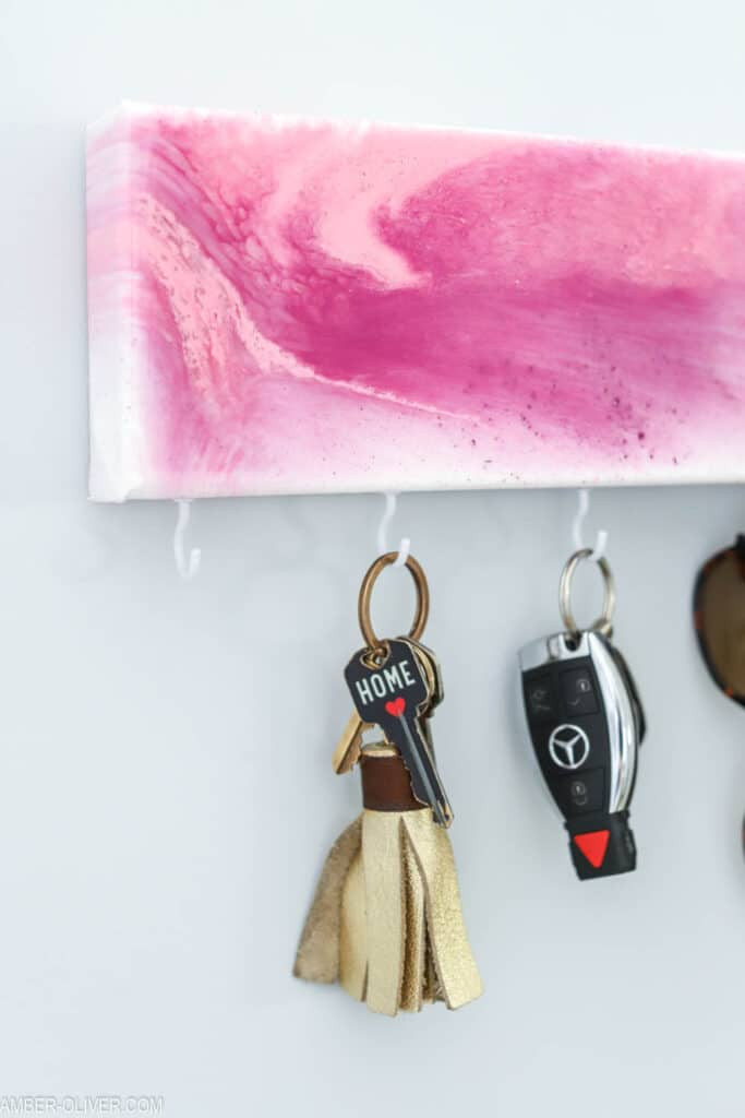 pink key holder with resin pour