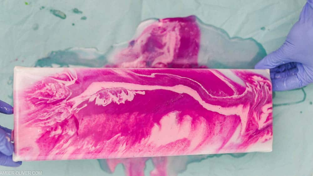 beautiful pink resin pour to create a key holder