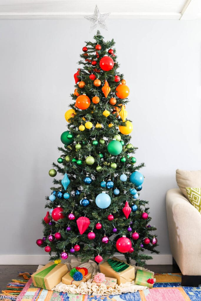 rainbow christmas tree with variety of ball sizes