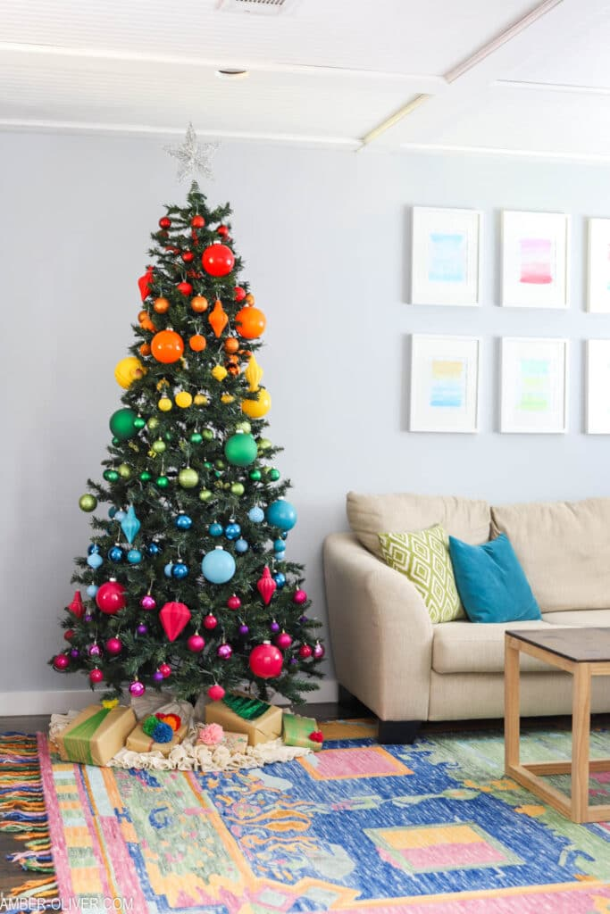 rainbow christmas tree in bright living room