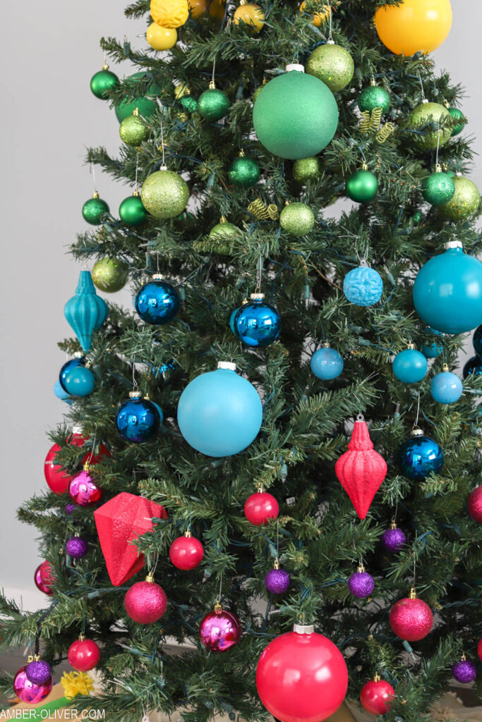 colorful rainbow christmas tree decorations