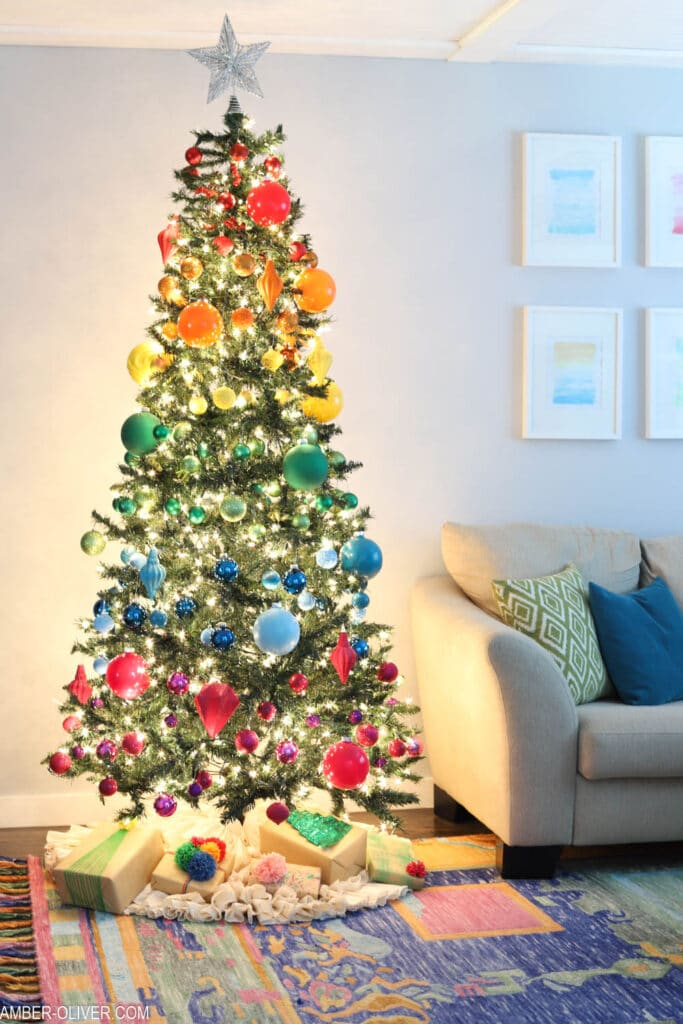 glowing rainbow christmas tree
