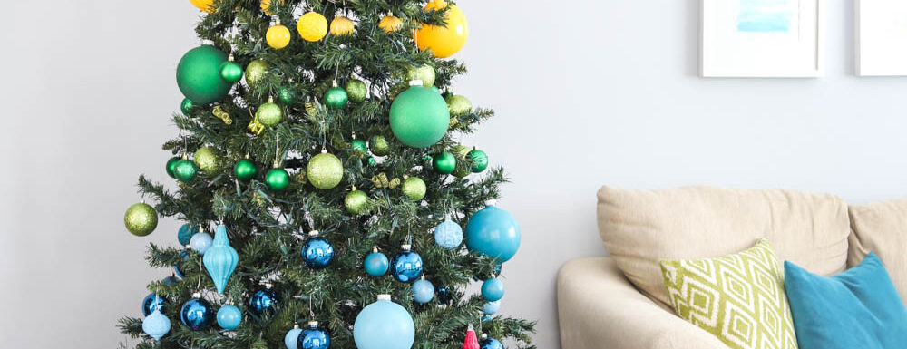 rainbow christmas tree in colorful living room