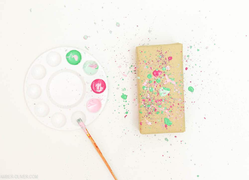 paint splatter makes creative gift wrap
