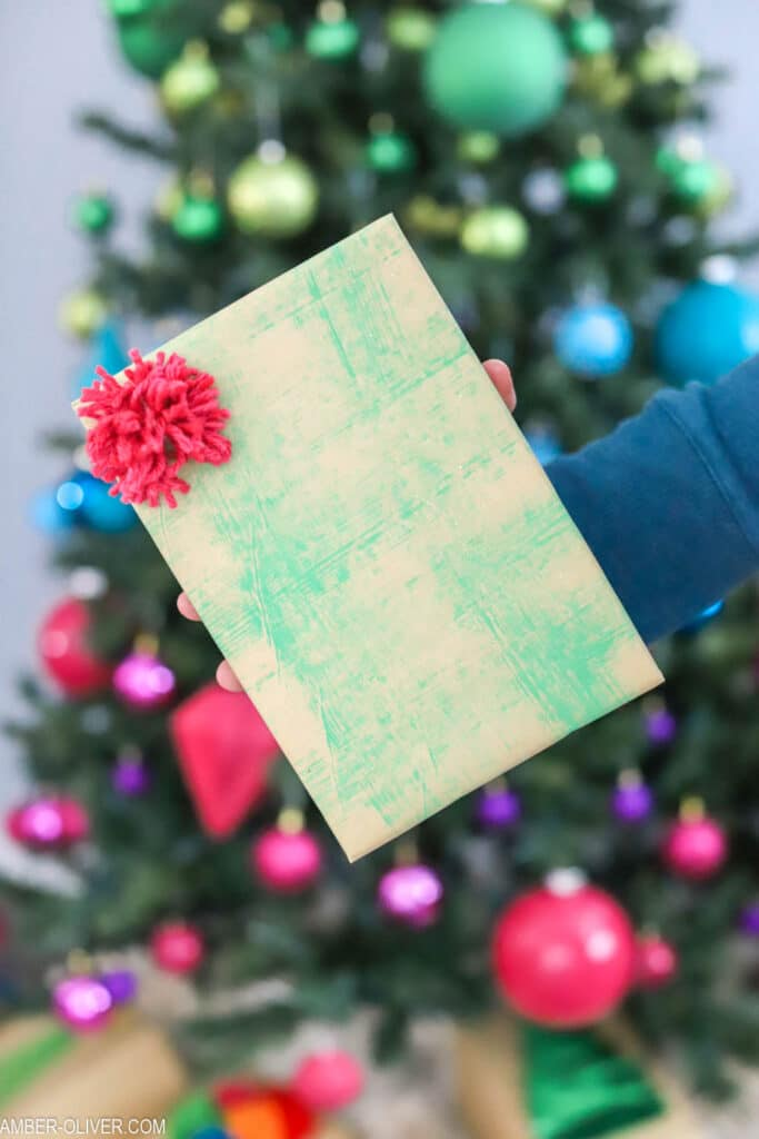 creative gift wrap idea with paint
