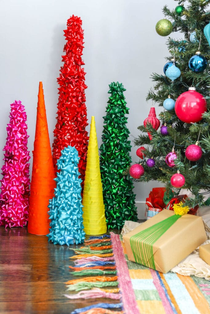 colorful cone christmas trees