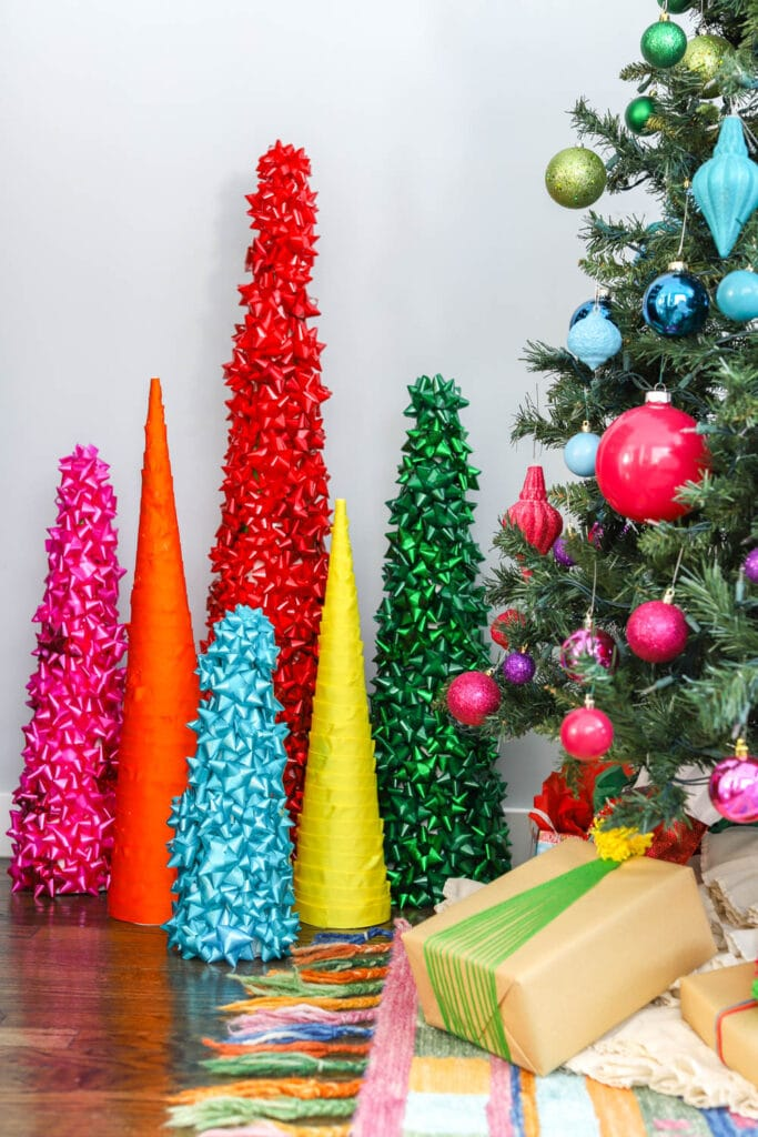 cone christmas trees made with colorful ribbons and bows