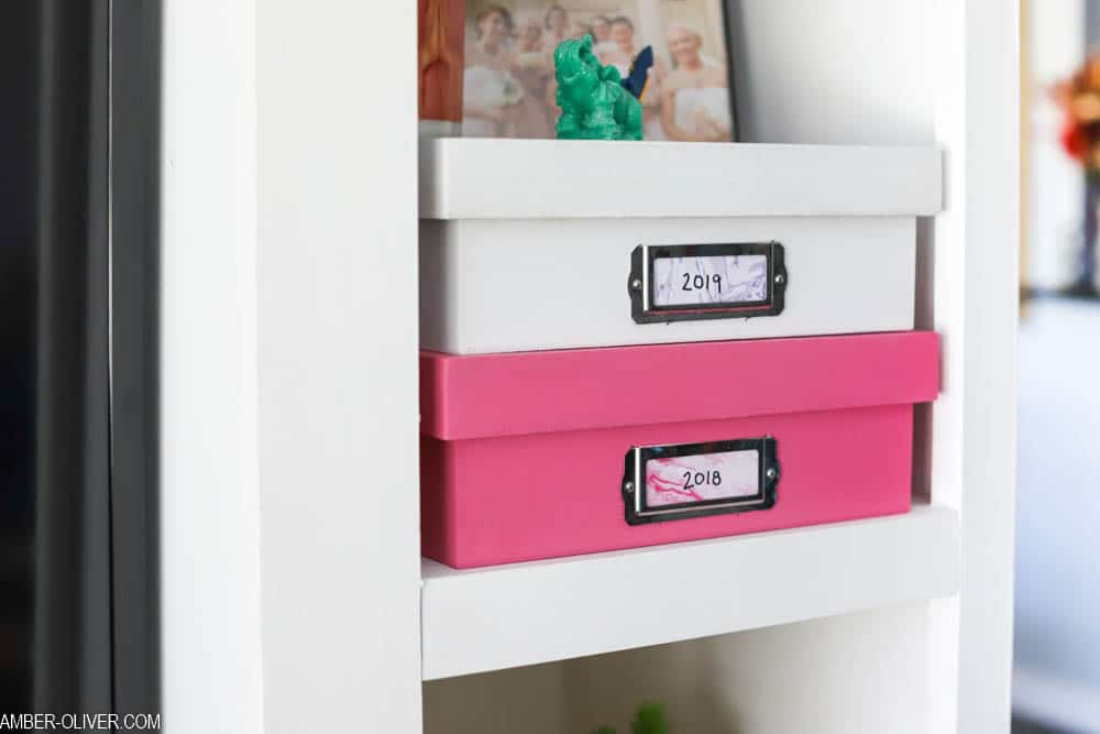 white and pink DIY memory boxes