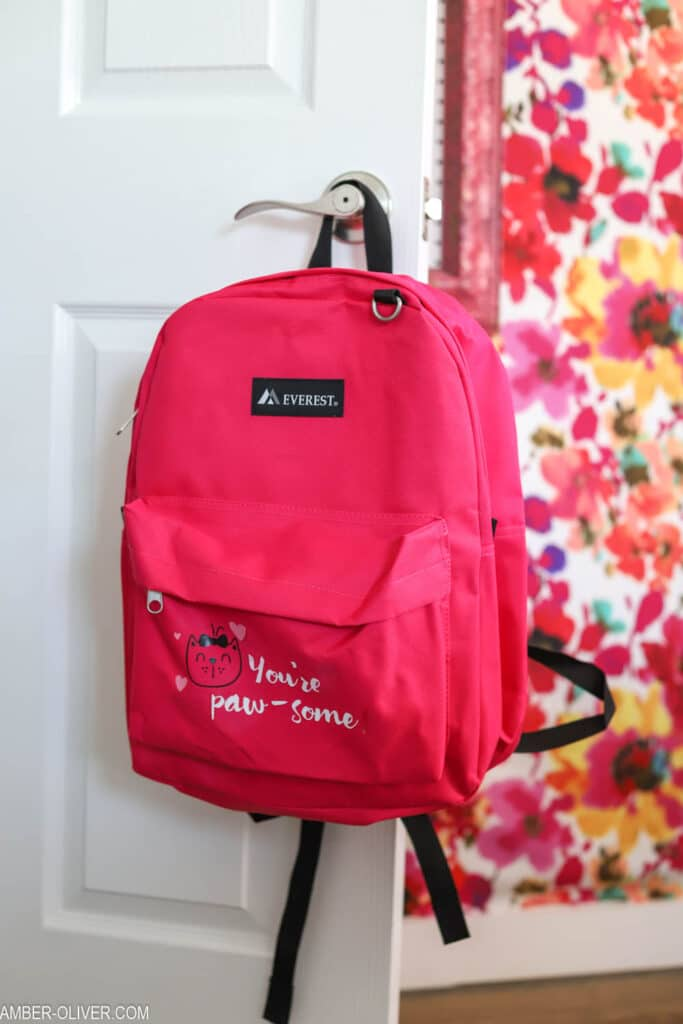 cricut vinyl on pink backpack