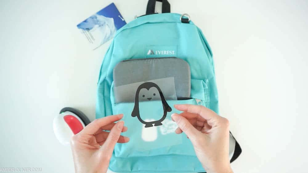 Cricut vinyl penguin for backpack
