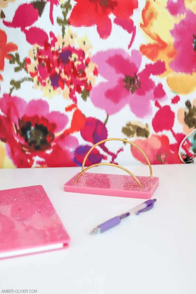 diy mail holder in front of floral wall