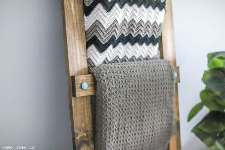 close up of DIY blanket ladder in a living room