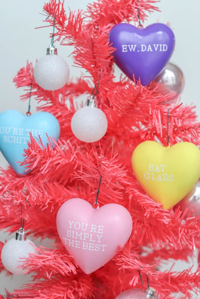 schitts creek valentines candy hearts on pink tree